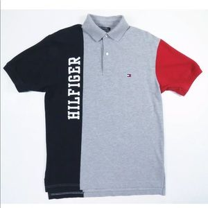 VTG 90s Tommy Hilfiger Colorblock Polo Rugby Shirt